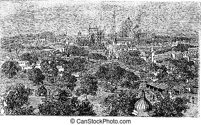 Delhi in India, vintage engraving