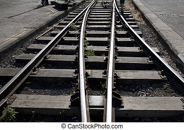 Railway Track Junction with Person in Background