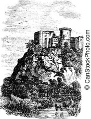 Falaise Castle in Normandy, France, vintage engraving -...