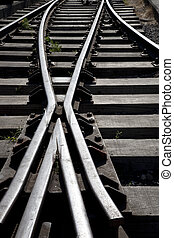 Close up of a Railroad Track Junction