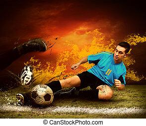 futebol, jogador, Fogos, chama, Ao ar livre, campo