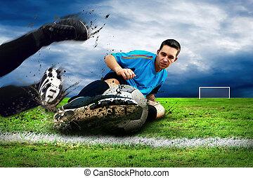 jogadores, futebol, campo