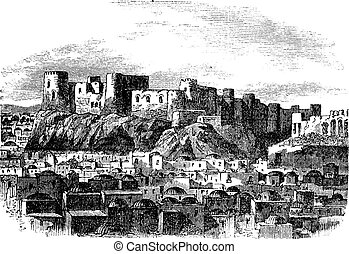 Citadel of Herat, Afghanistan vintage engraving Old engraved...