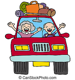 Road Trip Seniors - An image of a senior couple in a car...