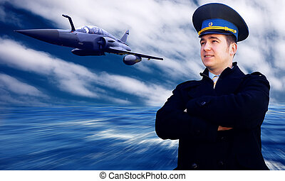 Pilot and military airplane on the speed