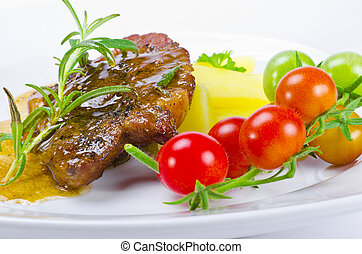 grilled cervical chop with herbs - Fresh grilled cervical...