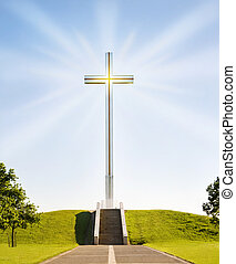 Shining Christian Cross - Shining Christian cross on the...