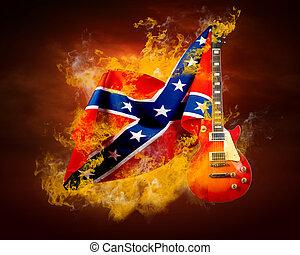 rocha, bandeira, ao redor, fogo, chamas