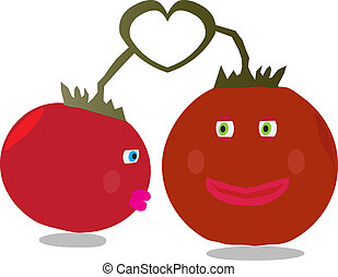 Tomato Love - Two tomatoes sharing an intimate moment In...