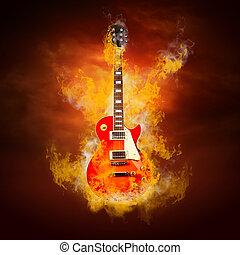 rocher, guita, Flammes, brûler