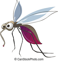 Cartoon Character Mosquito Isolated on White Background...