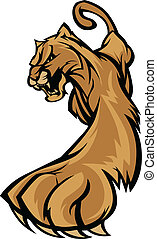Cougar Mascot Body Prowling Graphic - Graphic Mascot Image...