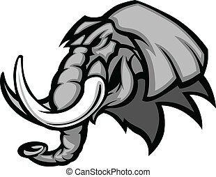 Elephant Mascot Head Graphic - Graphic Mascot Image of a...