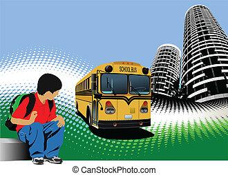 School boy is waiting for school b