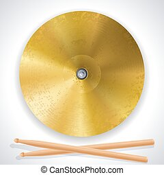 cymbal - Vector illustration - brass cymbals and drumsticks