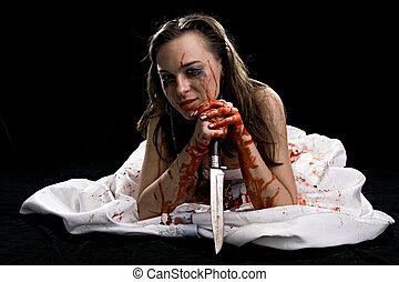 woman with knife - woman in blood with knife isolated on...