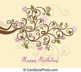Feminine floral happy birthday card vector illustration