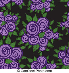Purple roses seamless - seamless black background with...