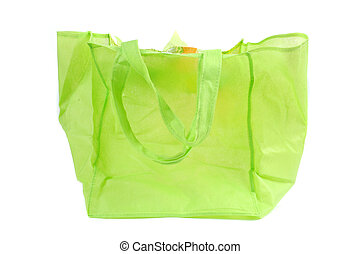 a green cotton bag