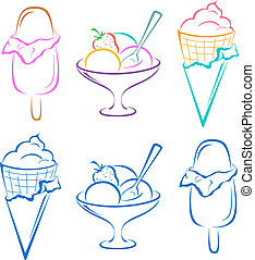 Ice-cream, set - Sweet dessert, ice-cream, set symbolical...