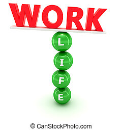 Work and life balance - Unstable construction of red word...
