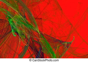 abstract green leaves on red, seamless loop animated fractal
