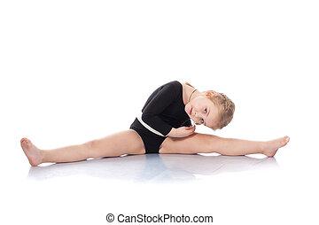 estudio, retrato, niña, gimnastas, extensión