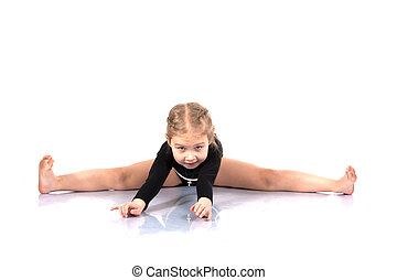 studio, portrait, girl, Gymnastes, étirage