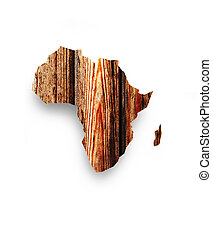 wooden map of Africa on a white background