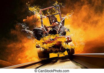 Demon on train in fire flames