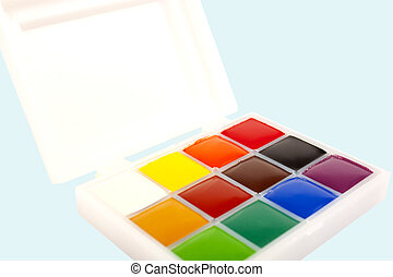 Watercolor isolated on a on blue background with clipping path