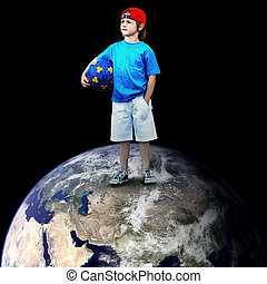 Child football player on the planet