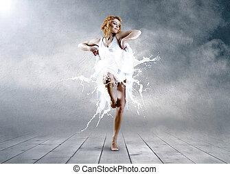 dança, bailarina, Vestido, leite