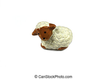 Lamb isolated - Small lamb figure over white background