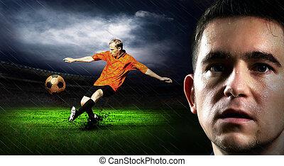 Retrato, futebol, jogador, campo, noturna, chuva