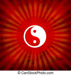 Ying Yang Sign On Burst Background