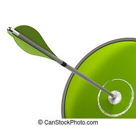 green business success concept symbol with one target and one arrow over a white background