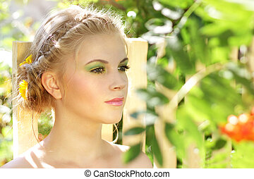 Young woman with summer make-up