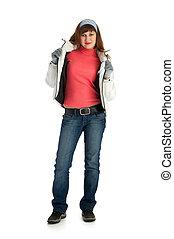 atheletic girl isolated on white background