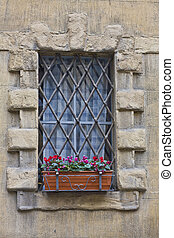 ancient window with iron lattice