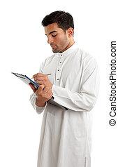Professional arab man with clipboard folder - A...