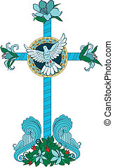 Cross with flowers and pigeon
