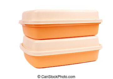 stack of orange storage plastic containers - stack of orange...
