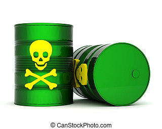 Toxic waste barrel - iron barrel with toxic waste on a white...