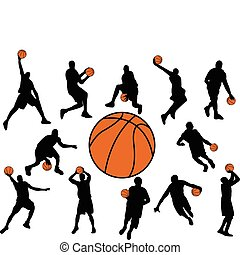 Basketball players silhouette - vector