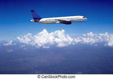 avión, mosca, cielo, nubes