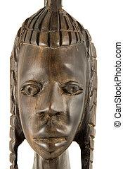 Full face - statuette - Handmade ebony african statuette of...