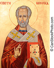 Saint Nicholas on golden background - Icon of Saint Nicholas...