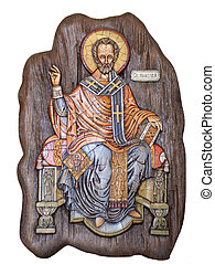 Saint Nicholas wooden icon - Wooden icon of Saint Nicholas...
