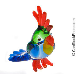 The parrot - Colorfull glass statuette of a parrot on white...